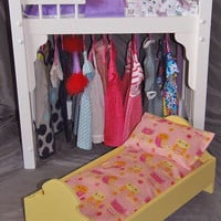 American Girl Doll Bed and clothes storage unit combo with additional single adorable doll bed included