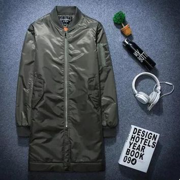 2017 Winter Men Bomber Jacket Long Jackets And Coats Spring Casual Military Green Kanye West Ma 1 Basic Jackets Plus Size