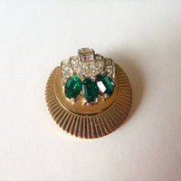 Boucher brooch emerald green and clear baguette rhinestone. signed brooch