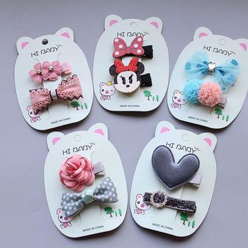 2017 kawaii minnie bowknot girls kids hair clips bows haar accessories for children headdress hairpin hair barrettes hairclip