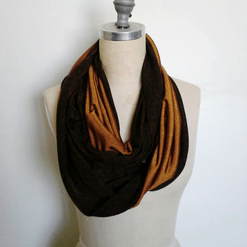 The Infinity Scarf, Two Tone in Golden Orange and Brown