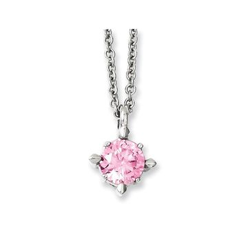 Pink Synthetic Cz Pendant Necklace in Stainless Steel - Lobster Claw Cable