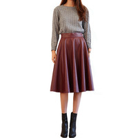 2016 Spring Synthetic Leather Midi Skirts 63cm Women's Street Fashion Black/Burgundy PU Leather Knee Length Flare Punk Skirt