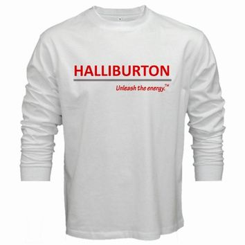 HALLIBURTON UNLEASH THE ENERGY T-Shirt men long sleeve white tshirt S - 2XL tee