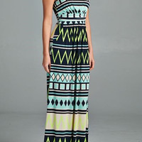 Chevron Print Maxi Dress - Navy/Green