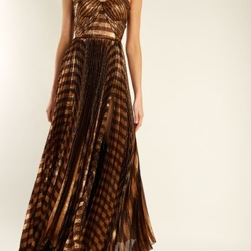 Gaia striped pleated lamé gown | Maria Lucia Hohan | MATCHESFASHION.COM US
