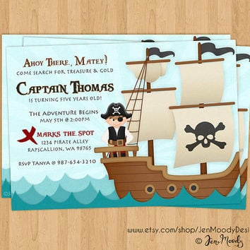 Boy's Pirate Buccaneer Birthday Invitation, Ahoy Matey Party Invite - Printable, Digital, Ocean Waves, Pirate, Ship, Treasure Hunt, Captain