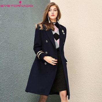Women autumn double breasted turn-down collar long wool coat slim casual work military woolen pea coats British style 7505