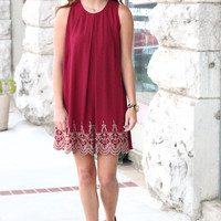 Golden Embroidery Scalloped Shift Dress {Wine}
