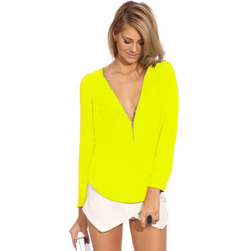 Yellow Long Sleeve Zip Up V-Neck Top