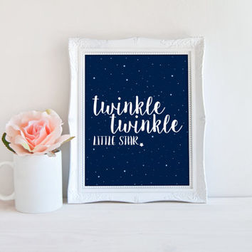 Twinkle Twinkle Little Star Printable Sign, Star Night Sky, Nursery Digital Wall Art Template, Instant Download,8x10
