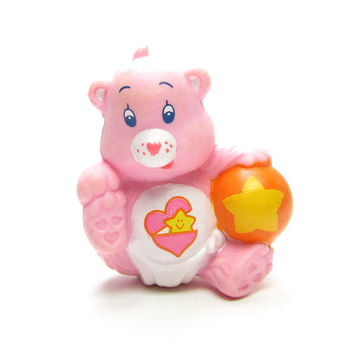 """Baby Hugs Bear Vintage PVC Miniature Figurine Care Bears Cake Topper """"Playing With Her Ball"""""""