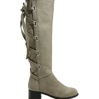 Once Upon A Time Snow White Knee High Lace-Up Boots