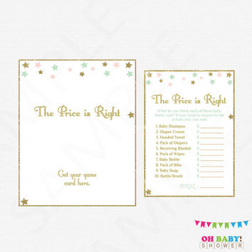 Twinkle Twinkle Little Star Baby Shower, The Price is Right Game, Pink Mint Gold Baby Shower Games Girl, Printable. Instant Download, STPMG