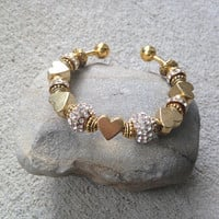 Gold Heart Cuff Bracelet, Jewelry Gift, OOAK, Gift for Her, Beaded Jewelry, Czech Crystal, Rhinestone Beads, Bridesmaid Gift, Valentines Day