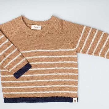 Striped pullover / Eco friendly 100% baby alpaca wool camel brown and navy sweater / pullover / toddler / baby / girl / boy