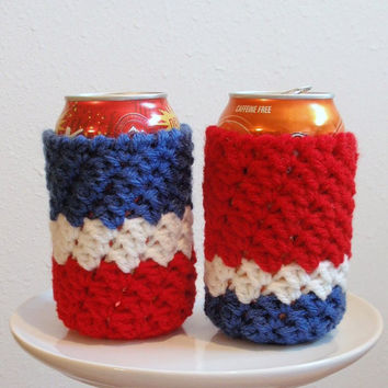 Beer Can Koozie - 4th of July Soda Can Koozies Cozy - Two Cozies - Red, White, and Blue - Custom Orders - Patriotic USA