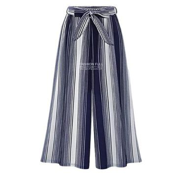 [15188] Vertical Striped Culottes With Belt