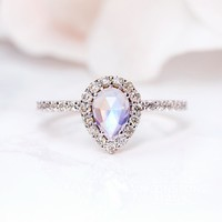 Solid 14kt Rosé Gold Moonstone Ring with Diamonds - Tear of Joy