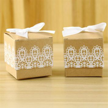 10Pcs/lot Romantic Vintage Gift Boxes  Rustic White Lace Kraft Favor With Ribbons Wedding
