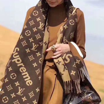 LV X Supreme Hot Popular Women Men Louis Vuitton Tassel Cashmere Cape Scarf Scarves Shawl Accessories Coffee