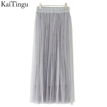 KaiTingu Brand New Fashion 2017 Ladies Gray Color 3 Layer Pleated Skirt Long Tulle Skirts Straight Grey Solid Mesh Skater Skirt