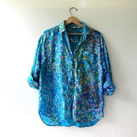 80s silk shirt. watercolor print blouse. oversized silk top