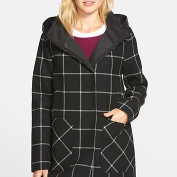 Women's Vince Camuto Bonded Windowpane Duffle Coat,