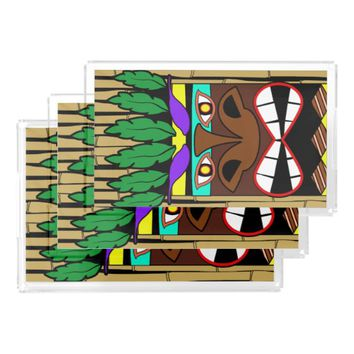 Totem With Bamboo Luau Party Acrylic Tray