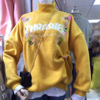 Thrasher Women Flower Embroidery High Neck Fashion Pullover Tops Sweater Hoodie
