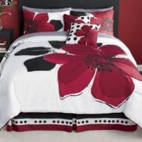 8 Pieces MARISOL Red Black White Comforter Bed-in-a-bag Set KING Size Bedding+Sheets