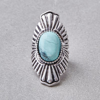 AEO Large Turquoise Ring, Silver