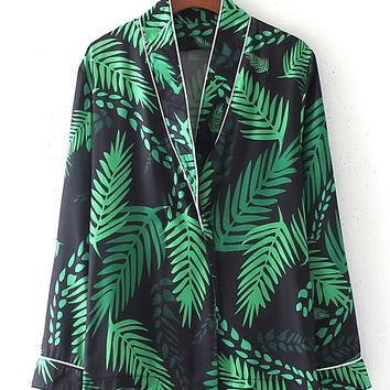 Jungle Print Contrast Piping Pajama Blouse