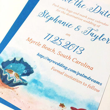 "Starfish Wedding Save the Date Card - Beach Save the Date Card (Set of 25) ""Clam Shell Treasures"" Destination Wedding - Watercolor Wedding"
