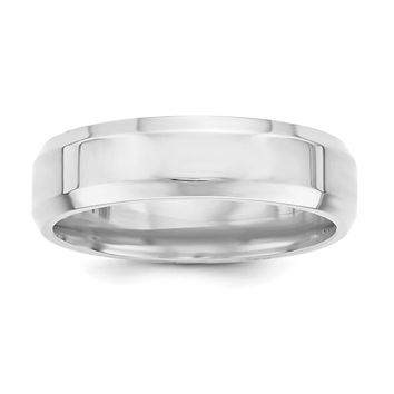 Sterling Silver Rhodium-plated 6mm Bevel Edge Size 9.5 Band
