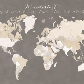 Wanderlust definition map in earth tones - no names Art Print by blursbyaiShop | Society6