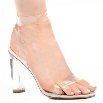 Ariana strappy sandal in Clear perspex