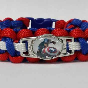 Captain America Bracelet, Winter Soldier Bracelet, Avengers Bracelet, Captain America Jewelry, Custom Bracelet, Captain America Movie