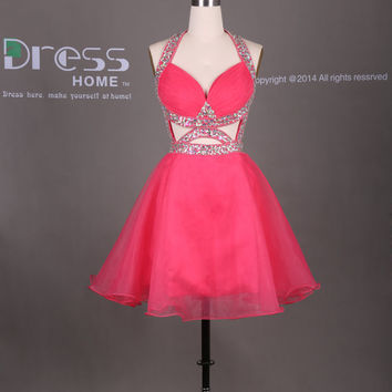 Sexy Red Sweetheart Beading Hollow A Line Organza Short Homecoming Dress/Criss Cross Back Party Dress/Open Back Cocktail Dresses DH313