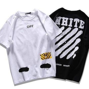 hip hop off white t shirt brand MIRROR Skateboard t shirt Virgil Abloh cotton men Twill Spray print tee Kanye women t shirts