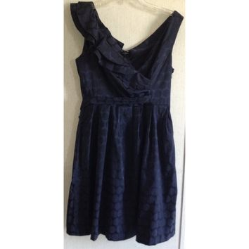 Blu Sage Navy Polka Dot Dress Faux Wrap Ruffle Dark Blue Asymmetric Tie Back 6 S