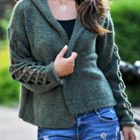 Explosion Cardigan Hooded Openwork Sleeve Women's Loose Sweater