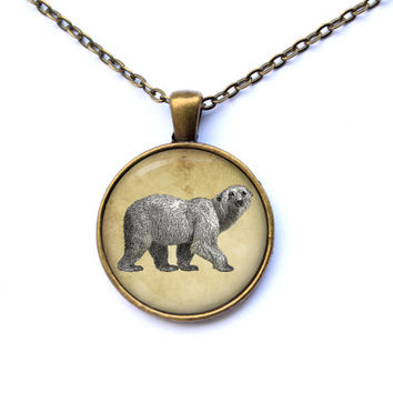 Polar bear necklace Animal pendant Art jewelry CWAO47