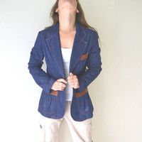 1970s Dark Blue Denim Blazer Jacket Tailored Fit Medium Brown Leather Pocket Trim
