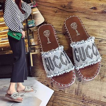 GUCCI Women Fashion Rhinestone Tassels Leather Slipper Sandals Shoes