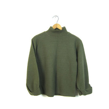 Horizontal Rib Pullover Sweater Chunky Crop Knit Turtleneck Sweater Army Green Cropped Sweater Top Mock Neck Basic Pullover Womens XS Small