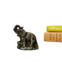 Vintage Elephant Figurine Metal Charm Trunk Up Made in Japan Miniature Animal Collectible Home Office Accent Piece Symbol of Luck Feng Shui
