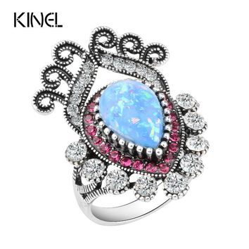 Blue Opal Stone Rings For Women Fashion Punk White Crystal Flower Silver Color Ring Vintage Wedding Jewelry 2017 New