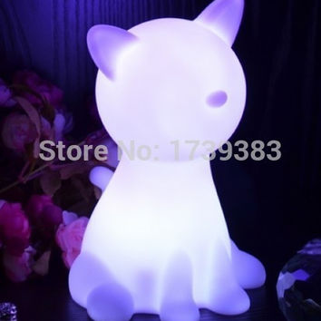 Rainbow Colorful Animal Cat LED night light lamp for kids, Chien Night Lamp for Children Christmas Gift