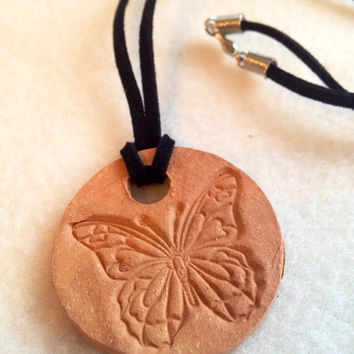 Handmade butterfly Ceramic- Aromatherapy / Essential Scented Oil Diffuser Pendant necklace muxed buff and red clay